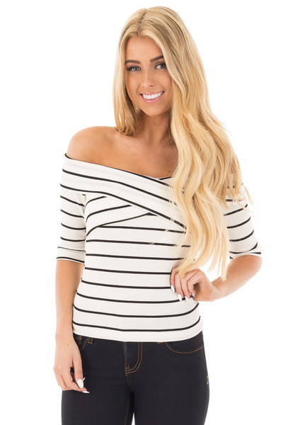 Ivory 3/4 Sleeve Striped Criss Cross Fold Over Top front close up