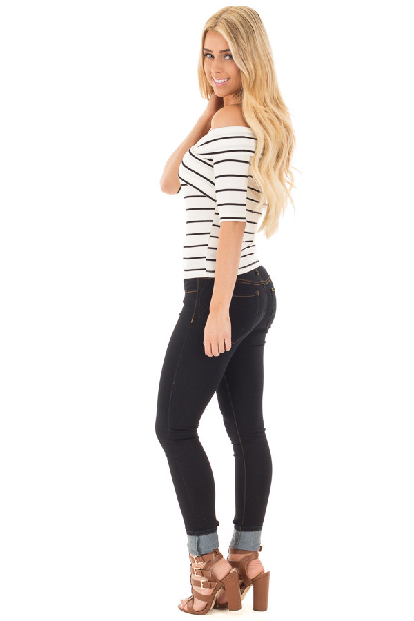 Ivory 3/4 Sleeve Striped Criss Cross Fold Over Top side full body