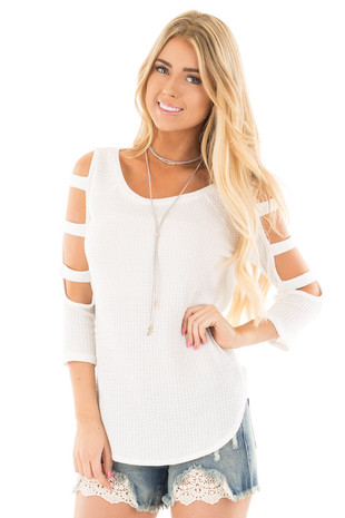 Ivory Thermal Top with Long Ladder Cut Out Sleeves front close up