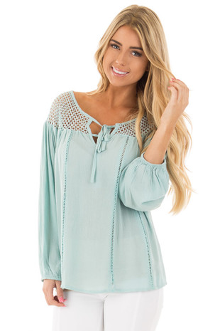 Sea Foam Long Sleeve Peasant Top with Net Lace Yoke front close up