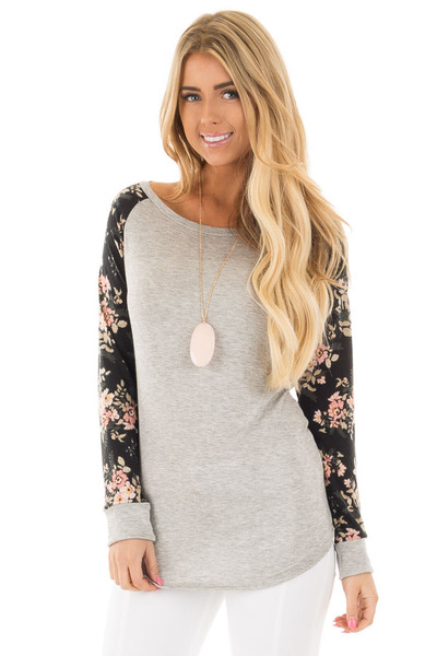 Heather Grey Floral Raglan Sleeve Top front close up