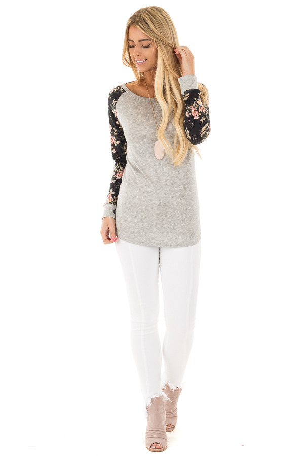 Heather Grey Floral Raglan Sleeve Top front full body