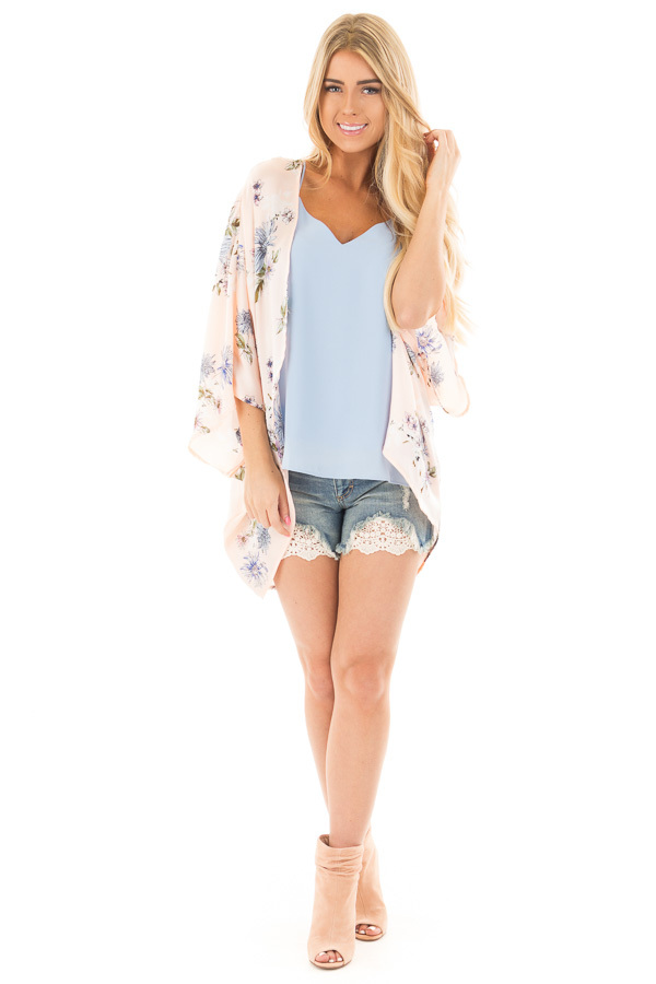Blush and Blue Floral Satin Floral Kimono Cardigan front full body
