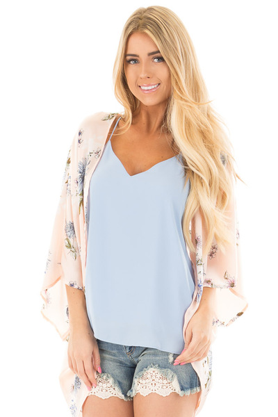 Blush and Blue Floral Satin Floral Kimono Cardigan front close up