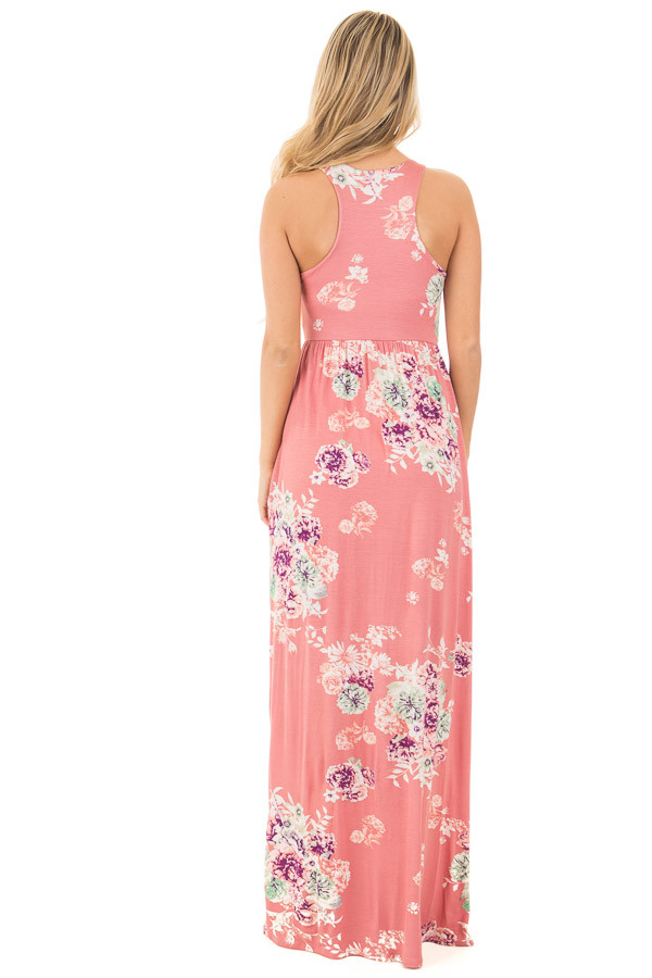 Dusty Pink Floral Print Racerback Maxi Dress with Pockets back full body