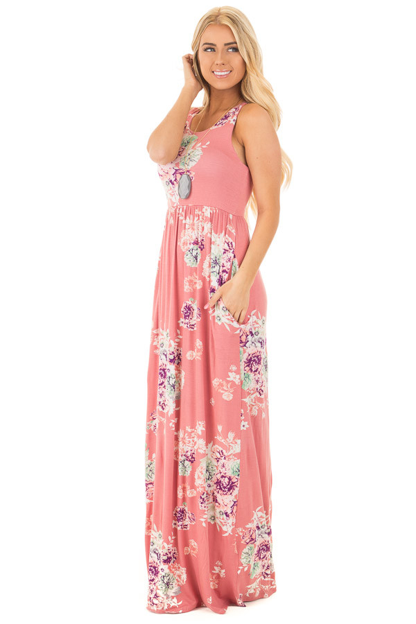 Dusty Pink Floral Print Racerback Maxi Dress with Pockets front full body