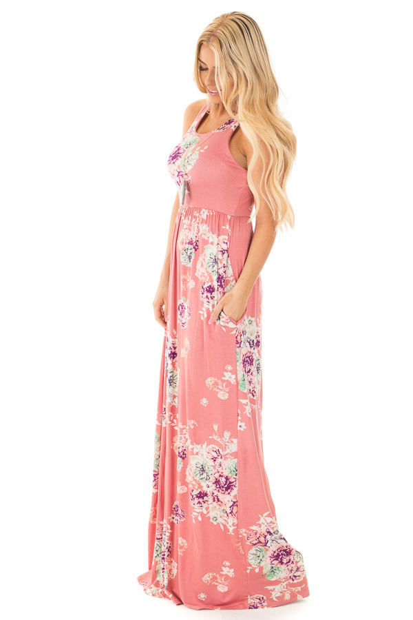 Dusty Pink Floral Print Racerback Maxi Dress with Pockets side full body