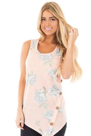 Light Peach Floral Asymmetrical Tank with Button Detail front close up