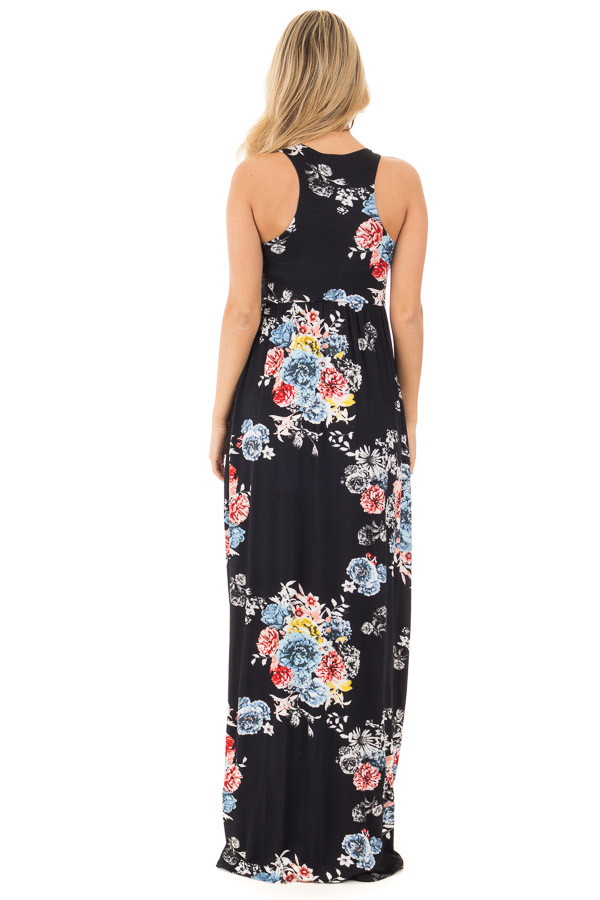 Black Floral Print Racerback Maxi Dress with Side Pockets back full body