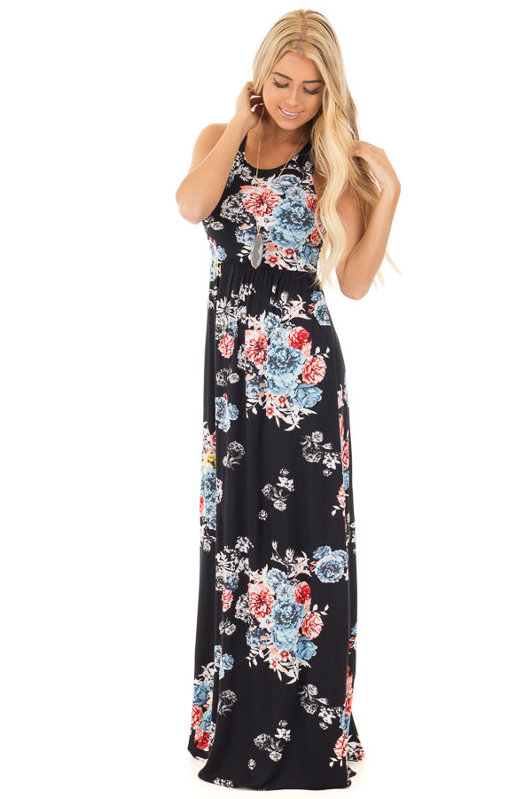 Black Floral Print Racerback Maxi Dress with Side Pockets front full body