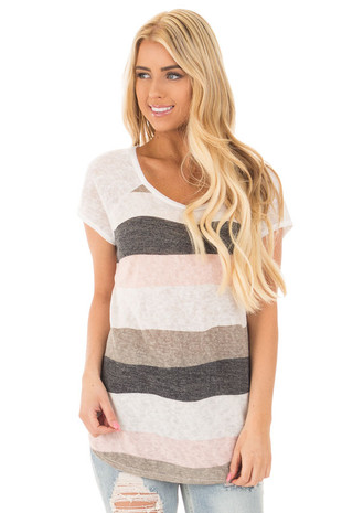 Ivory Striped Color Block Tee with Ivory Sleeves front close up