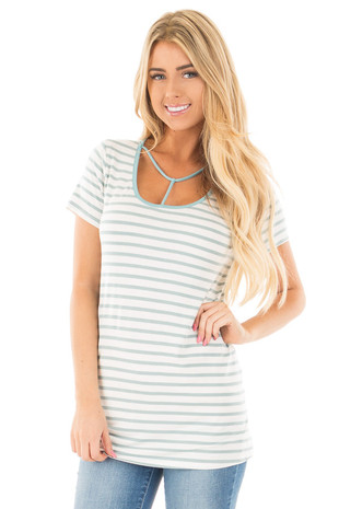 Ice Blue and Off White Striped Tee with T Strap Neckline front close up