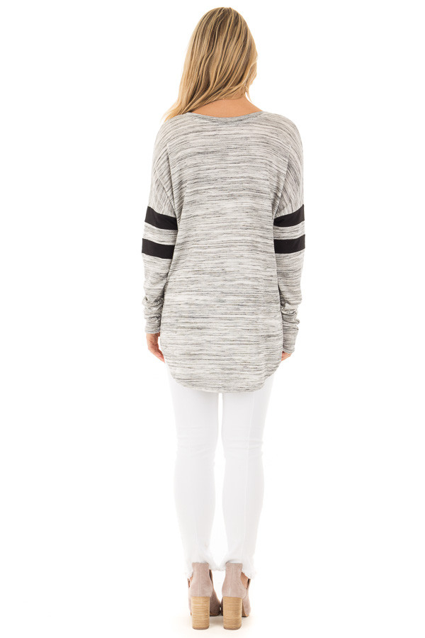 Heather Grey Two Tone V Neck Top with Black Striped Sleeves back full body