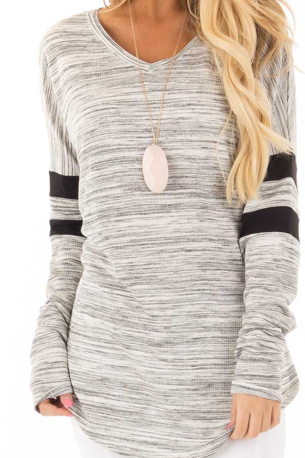 Heather Grey Two Tone V Neck Top with Black Striped Sleeves detail