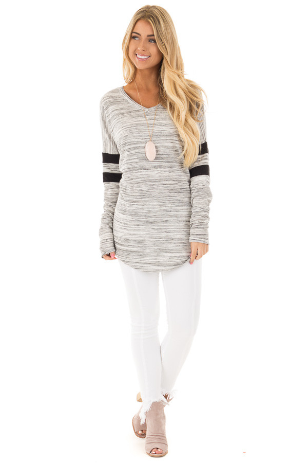 Heather Grey Two Tone V Neck Top with Black Striped Sleeves front full body