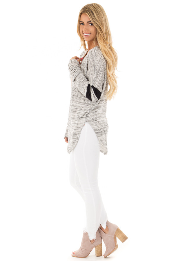 Heather Grey Two Tone V Neck Top with Black Striped Sleeves side full body