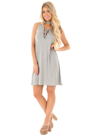 Heather Grey Mock Neck Keyhole Dress with Criss Cross Detail front full body