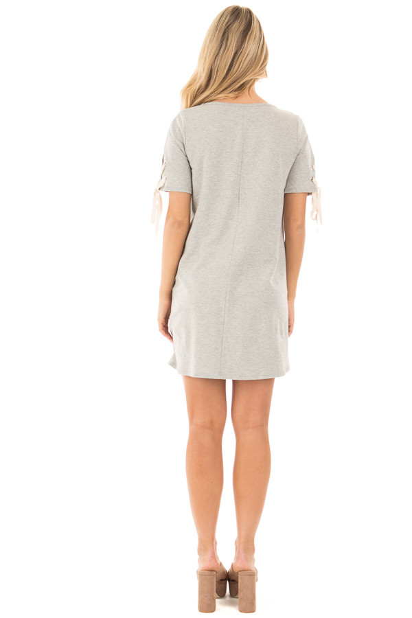 Heather Grey Tunic Dress with Lace Up Short Sleeves back full body