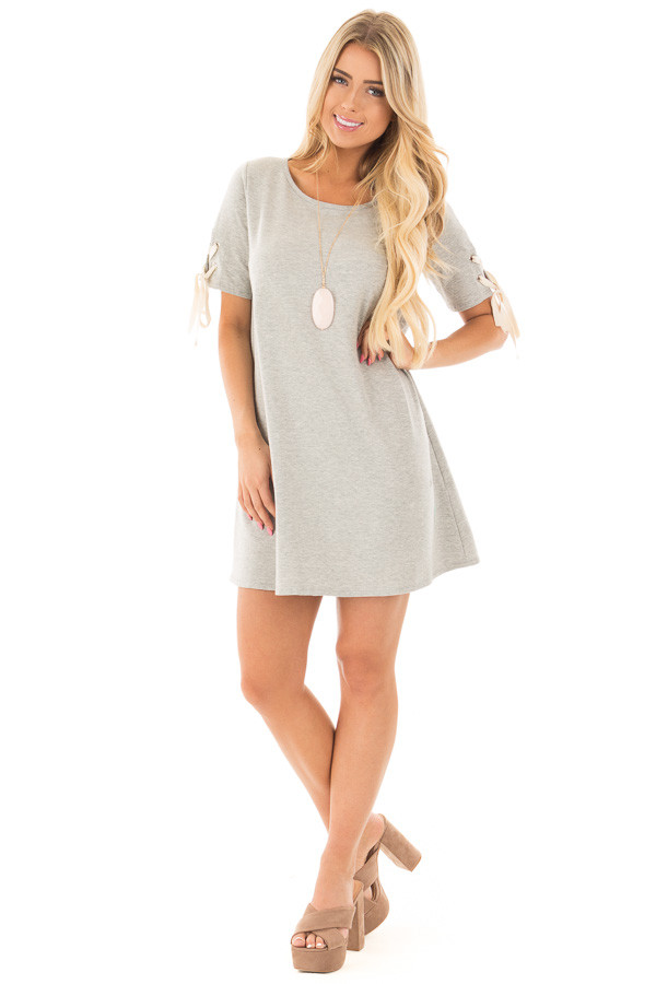 Heather Grey Tunic Dress with Lace Up Short Sleeves front full body