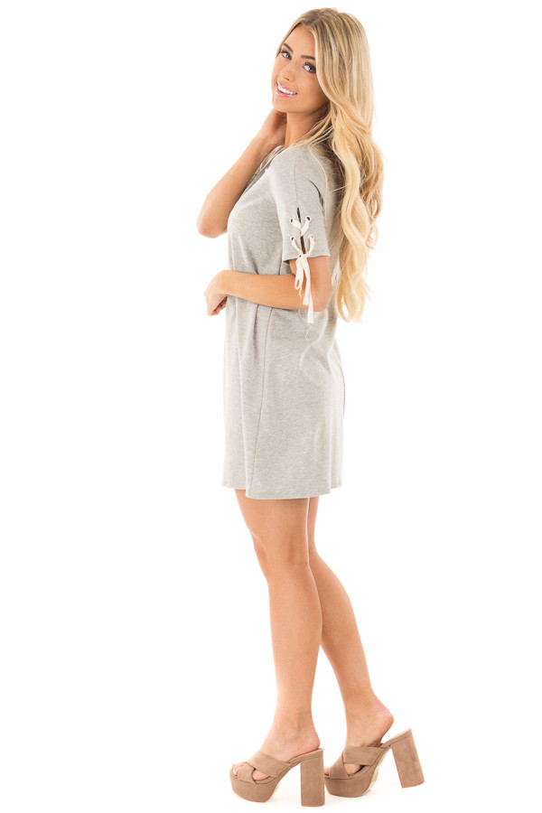 Heather Grey Tunic Dress with Lace Up Short Sleeves side full body