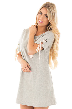 Heather Grey Tunic Dress with Lace Up Short Sleeves front close up