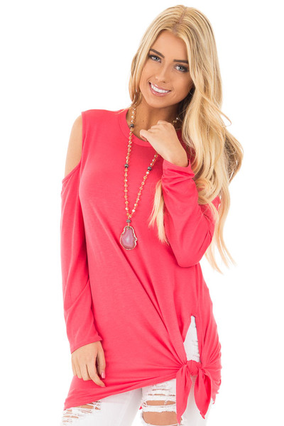 Fuchsia Long Sleeve Cold Shoulder Knot Twist Top front close up