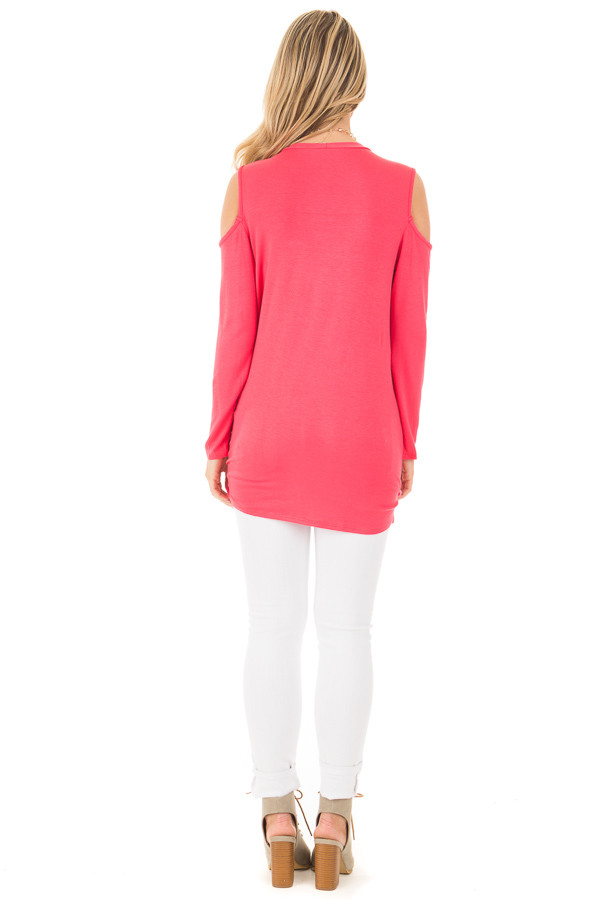 Fuchsia Long Sleeve Cold Shoulder Knot Twist Top back full body