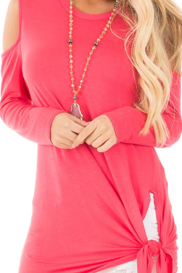 Fuchsia Long Sleeve Cold Shoulder Knot Twist Top detail