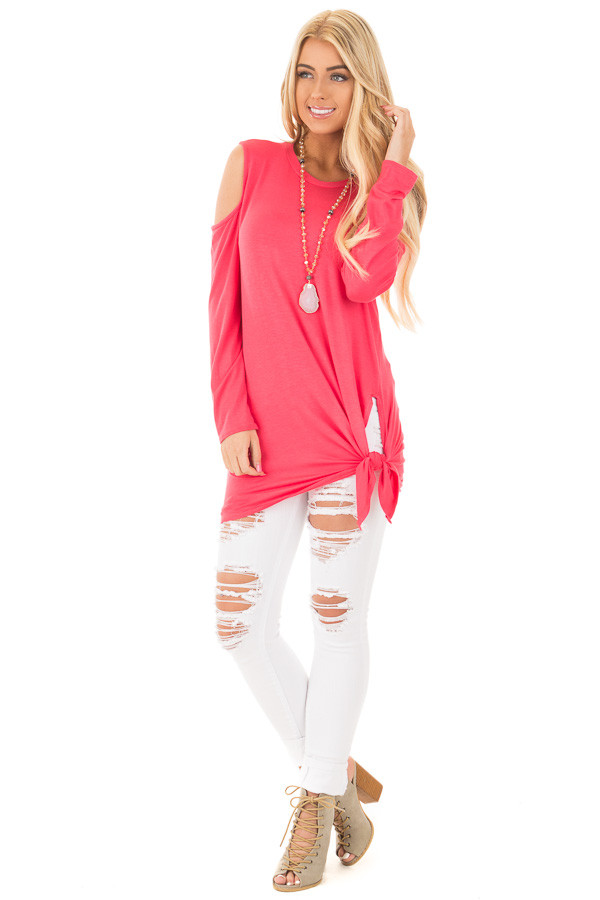 Fuchsia Long Sleeve Cold Shoulder Knot Twist Top front full body