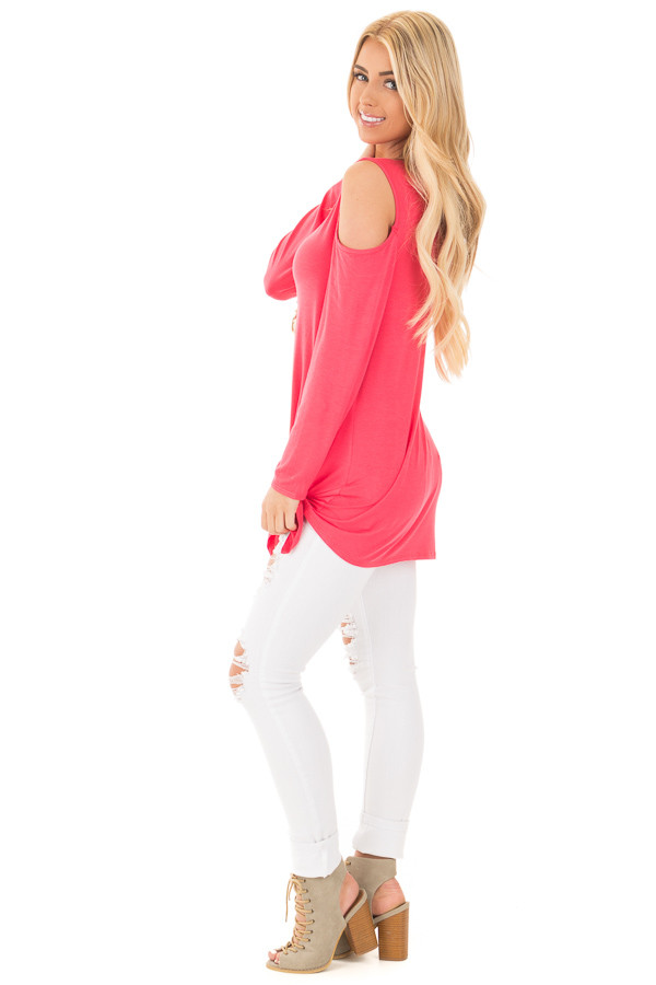 Fuchsia Long Sleeve Cold Shoulder Knot Twist Top side full body