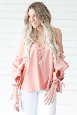 Dusty Blush Off the Shoulder Top with Ruffle Sleeves front close up