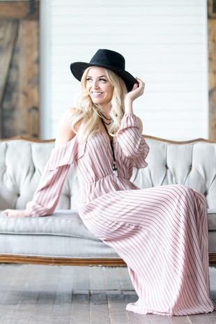 Salmon Pink Striped Cold Shoulder Maxi Dress with Slit Detail
