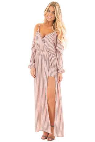 Salmon Pink Striped Cold Shoulder Maxi Dress with Slit Detail front full body