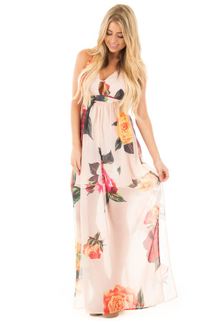 Peach Rose Floral Sheer Maxi with Deep V Neckline front full body