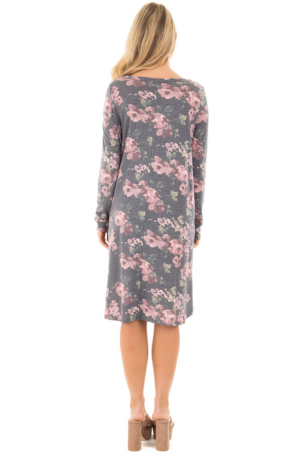 Charcoal Round Neck Swing Dress with Floral Print back full body