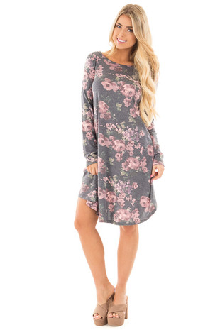 Charcoal Round Neck Swing Dress with Floral Print front full body