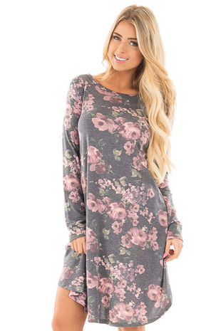Charcoal Round Neck Swing Dress with Floral Print front close up