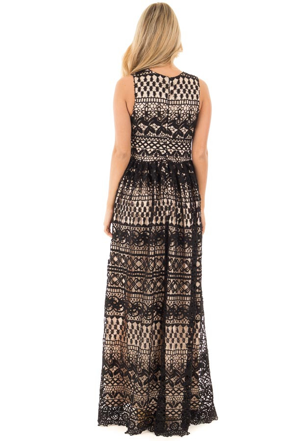 Black Sheer Lace Deep V Neck Maxi Dress with Nude Lining back full body