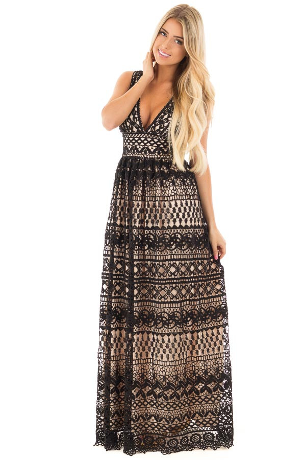 Black Sheer Lace Deep V Neck Maxi Dress with Nude Lining front full body