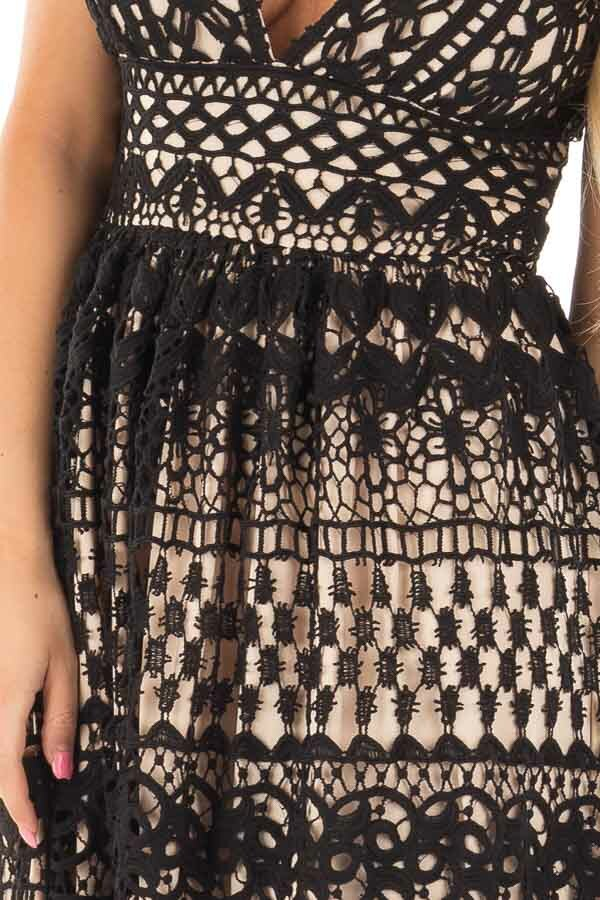 Black Sheer Lace Deep V Neck Maxi Dress with Nude Lining detail