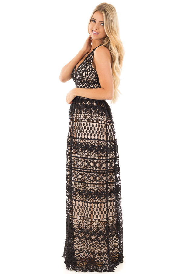 Black Sheer Lace Deep V Neck Maxi Dress with Nude Lining side full body