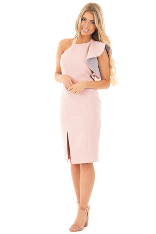 Blush One Shoulder Ruffle Sleeve Dress with Bottom Slit front full body