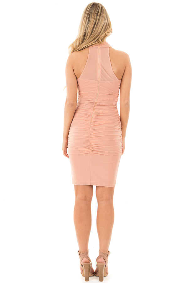 Blush Wrapped Dress with Ruched Detailed Sides back full body