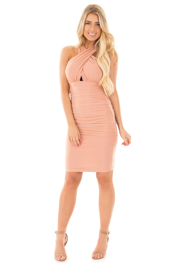 Blush Wrapped Dress with Ruched Detailed Sides front full body