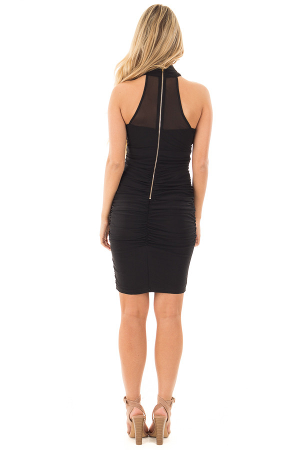 Black Wrapped Dress with Ruched Detailed Sides back full body