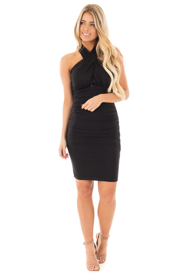 Black Wrapped Dress with Ruched Detailed Sides front full body
