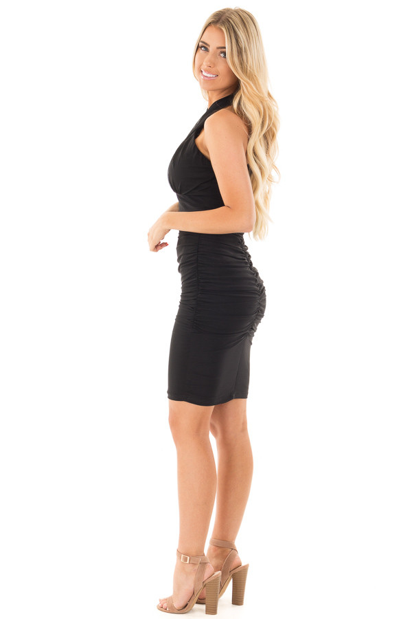 Black Wrapped Dress with Ruched Detailed Sides side full body