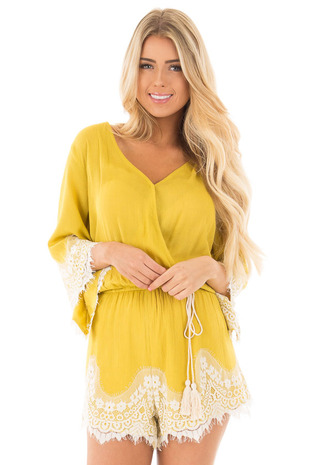 Goldenrod Romper with Lace Trim and Tassel Tie front close up