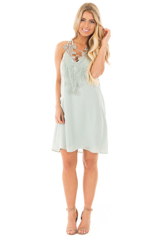 Sage Sleeveless Flowy Dress with Crochet Neckline Detail front full body