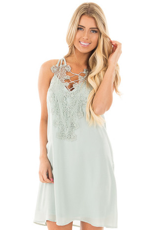 Sage Sleeveless Flowy Dress with Crochet Neckline Detail front close up